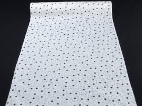Chemin de table Noël tissu motifs étoiles blanc - 5m