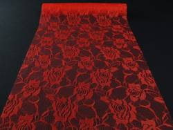 Chemin de table en dentelles motif rose - rouge