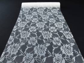 Chemin de table en dentelles motif rose - blanc