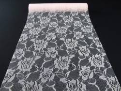 Chemin de table en dentelles motif rose - rose pastel
