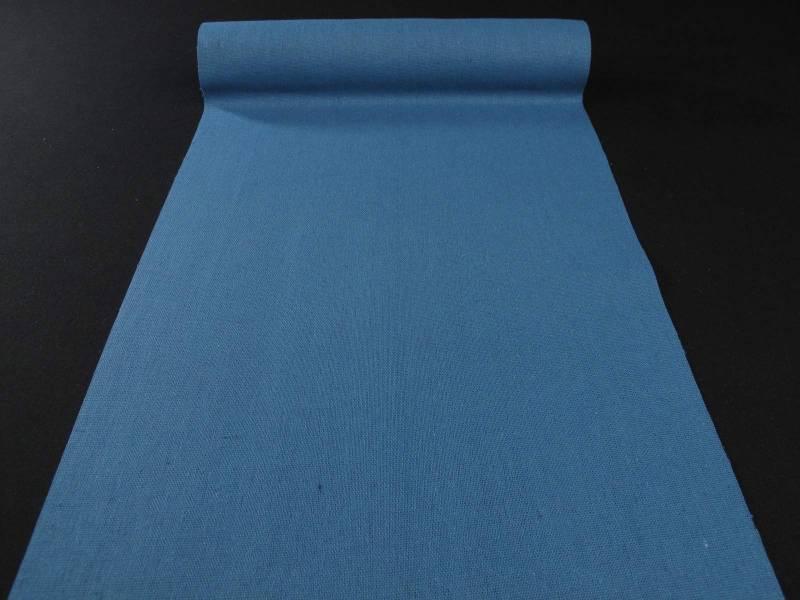 Chemin de table tissu toile lin bleu