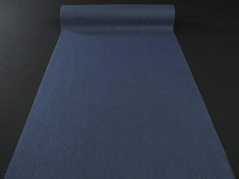 Chemin de table tissu toile lin bleu marine