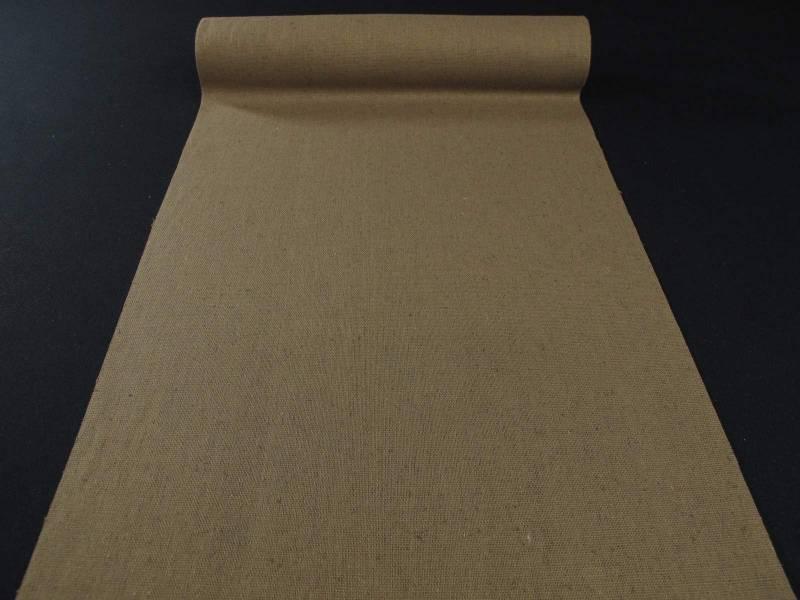 Chemin de table tissu toile lin brun