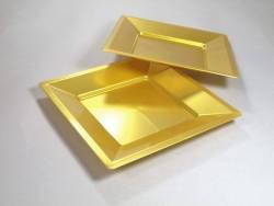Assiette carrée prestige - Or 18cm