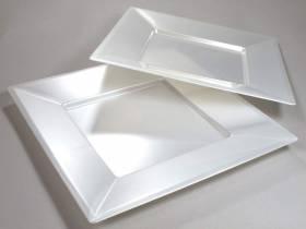 Assiette carrée prestige - Nacre 24cm