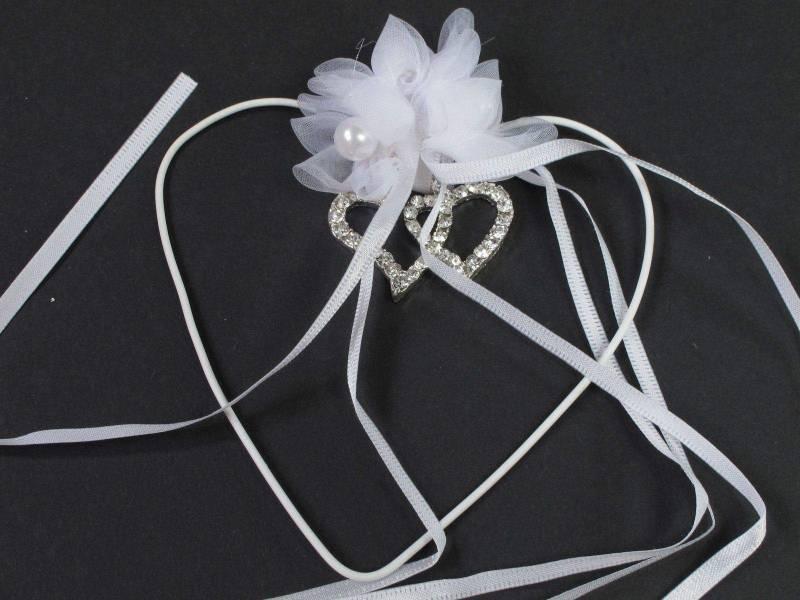 Coeur métal double coeur strass - Blanc