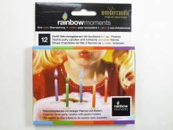 Bougie à flamme de couleur et bobèche - Multicolore
