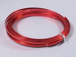 Fil Aluminium décoratif pour bijoux plat 3,5mm - Rouge
