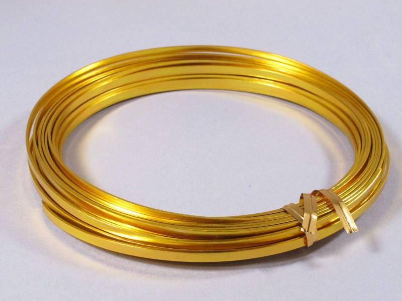 Fil Aluminium décoratif pour bijoux plat 3,5mm - Or