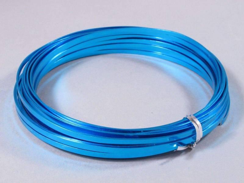 Fil Aluminium décoratif pour bijoux plat 3,5mm - Turquoise