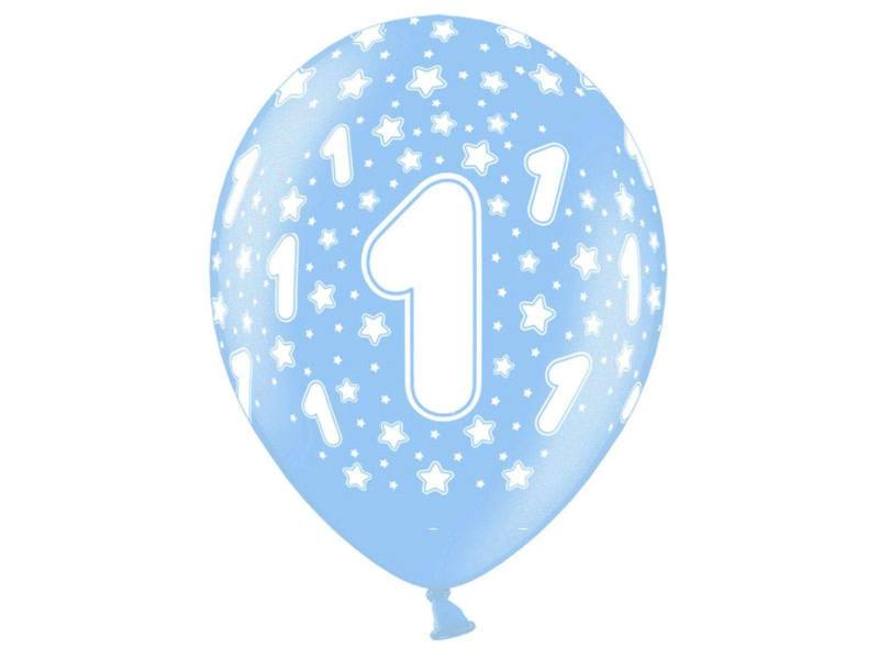 6 ballons métallisés anniversaire 1 an - Bleu