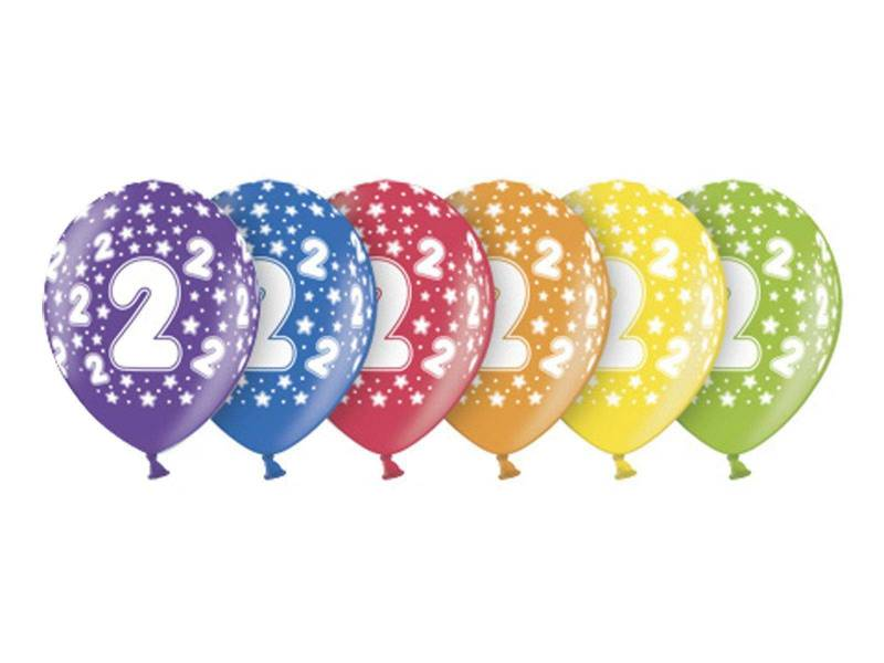 6 ballons métallisés multicolore anniversaire 2 ans