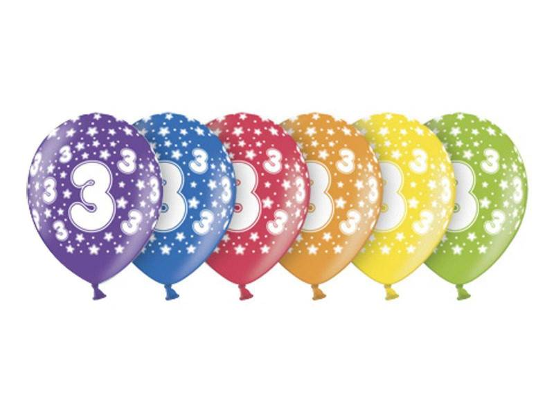 6 ballons métallisés multicolore anniversaire 3 ans