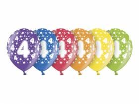 6 ballons métallisés multicolore anniversaire 4 ans