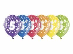 6 ballons métallisés multicolore anniversaire 5 ans