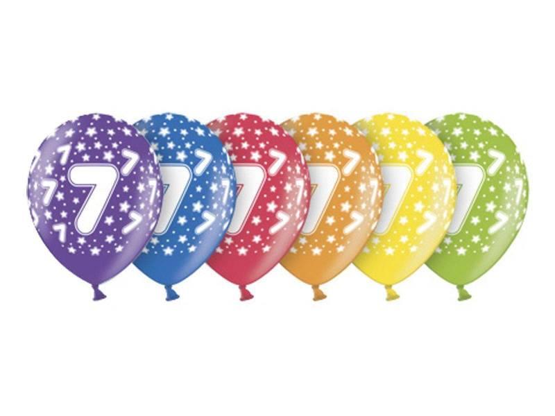 6 ballons métallisés multicolore anniversaire 7 ans
