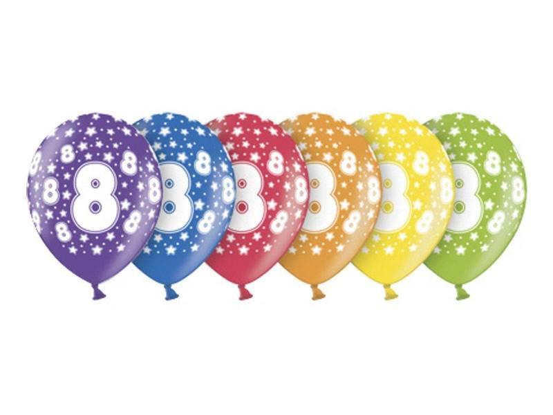 6 ballons métallisés multicolore anniversaire 8 ans