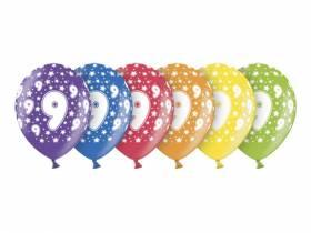 6 ballons métallisés multicolore anniversaire 9 ans