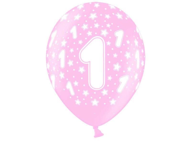 6 ballons métallisés anniversaire 1 an - Rose