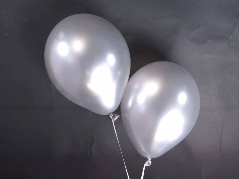 50 ballons métallisés Fête et Mariage Argent Ø30cm