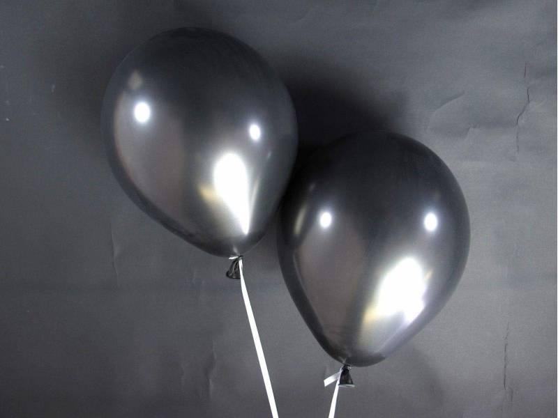 50 ballons métallisés Fête et Mariage Noir Ø30cm
