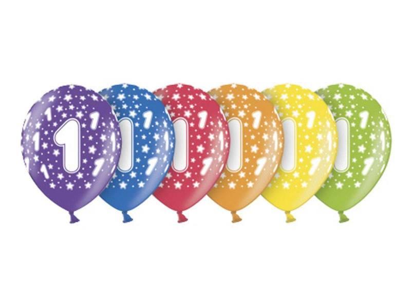 6 ballons métallisés multicolore anniversaire 1 an
