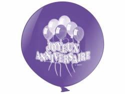 Ballon géant métallisé joyeux anniversaire - Lavande