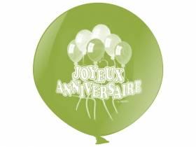 Ballon géant métallisé joyeux anniversaire - Lime