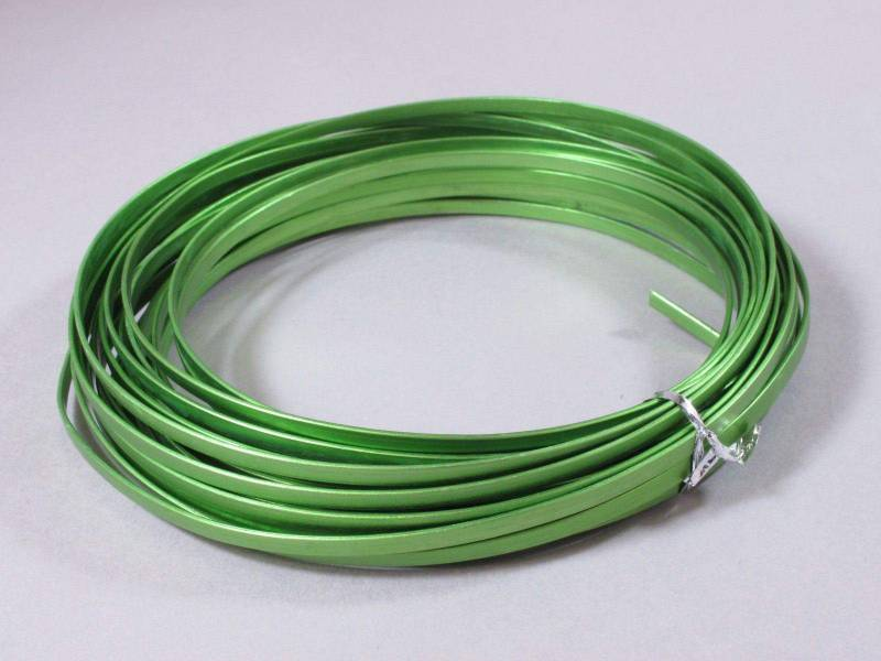 Fil Aluminium décoratif pour bijoux plat 4mm - Vert Pomme