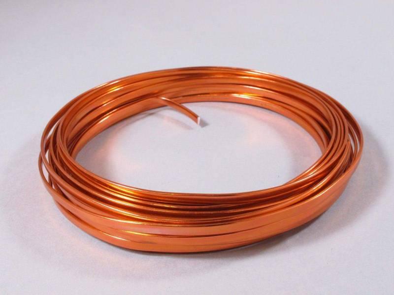 Fil Aluminium décoratif pour bijoux plat 4mm - Orange