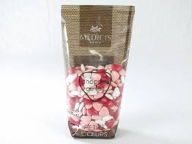 Dragée petit coeur chocolat lait - Framboise/Rose/Blanc