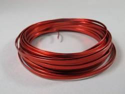 Fil Aluminium décoratif pour bijoux plat 4mm - Rouge