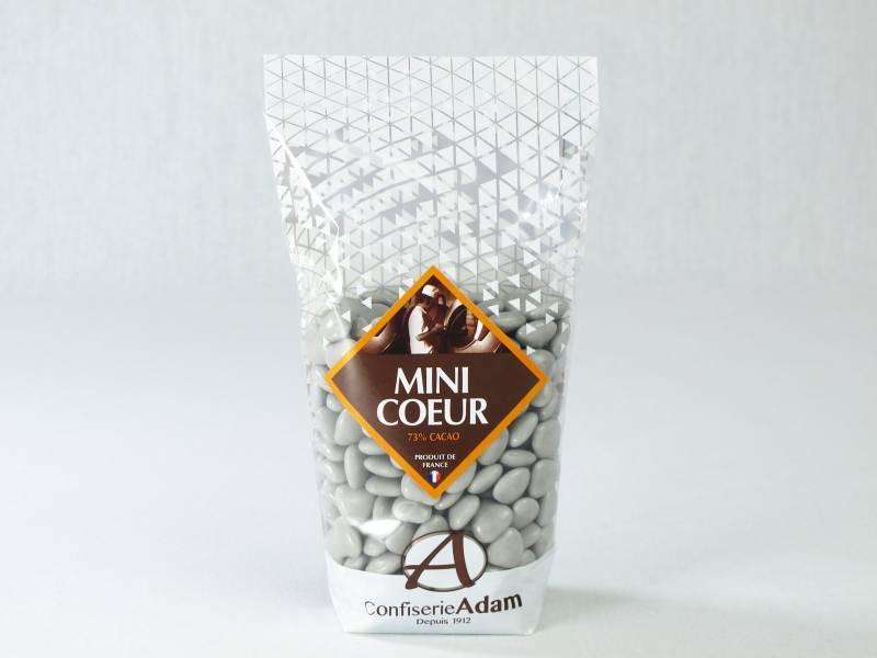 Dragée petit coeur chocolat lait - gris lune