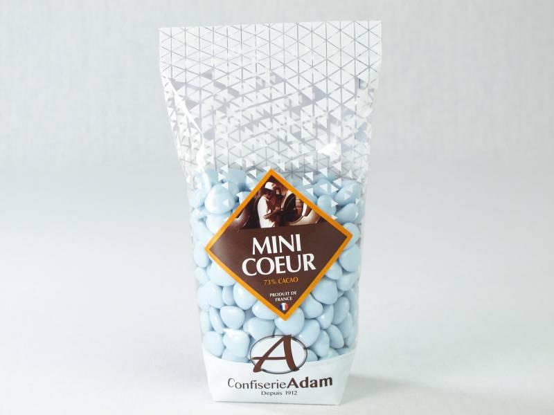 Dragée petit coeur chocolat lait - Bleu lavande