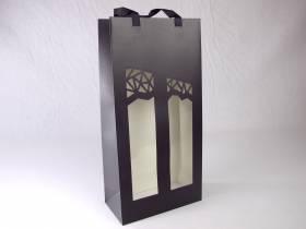 Sac 2 bouteilles noir et fenêtre Millesime 19x10x38cm x10