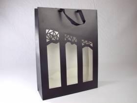 Sac 3 bouteilles noir et fenêtre Millesime 27x10x38cm x10