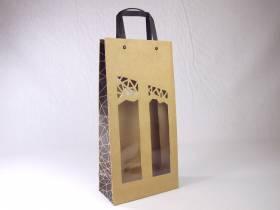 Sac 2 bouteilles havane et fenêtre Authentique 19x10x38cm x10