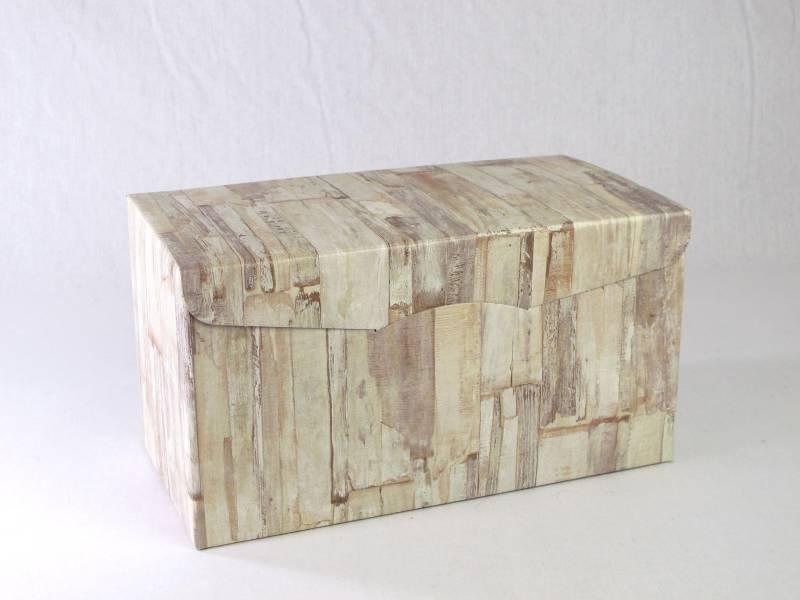 Boite Secret 6 bouteilles motifs bois 32x25x18cm
