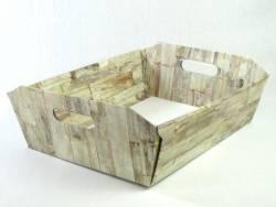 Corbeille carton - Motifs bois 40x30x12cm