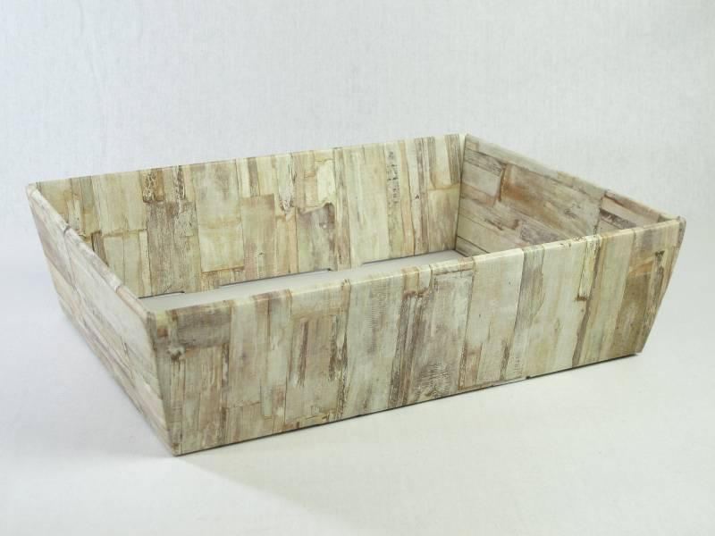 Corbeille carton - Motifs bois 40x30x11,5cm