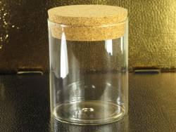 Pot en verre et bouchon de liège déco Ø8x10cm