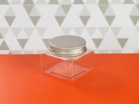Pot en plastique et couvercle alu design - 5,2x5,2x4cm