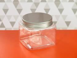 Pot en plastique et couvercle alu design -7,5x7,5x6cm