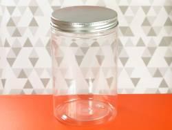 Pot en plastique et couvercle alu design - Ø9,5x14,5cm