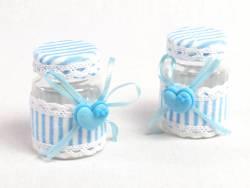 Pot dragée baptême rayure bleu et cœur