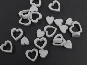 Petit cœur en bois pour déco de table mariage - gris