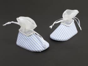 Paire de chausson dragée déco de table bébé rayure bleu