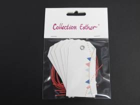 Marque place étiquette et cordon motif fanion - x6