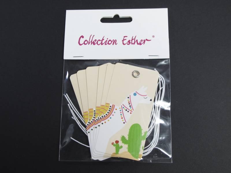 Marque place étiquette et cordon motif lama - x6