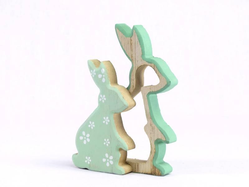 Lapin bois gigogne déco de Pâques - 15cm